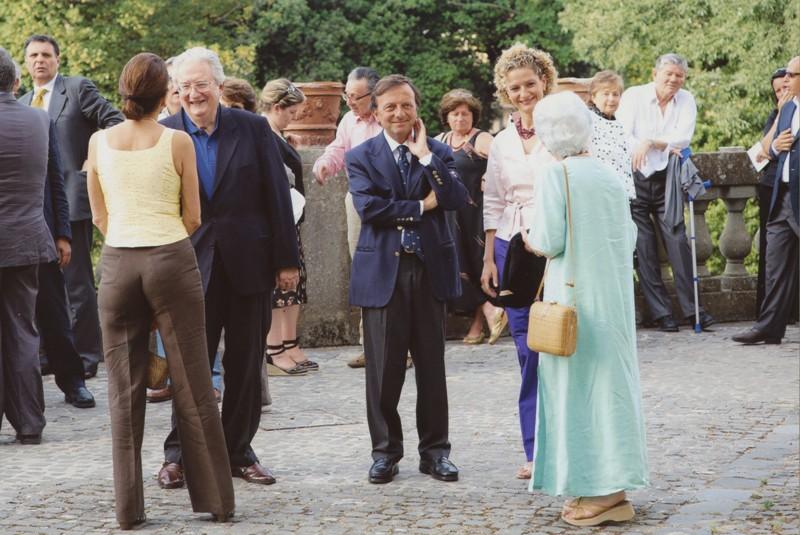 Franco Di Castro, F.Petrucci, Alessandra Di Castro, inaug. mostra Vedute Colli Albani e Roma, 28.6.2006