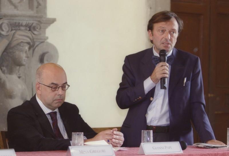 Gianni Papi e F.Petrucci, inaug. mostra La Schola del Caravaggio, 12.10.2006