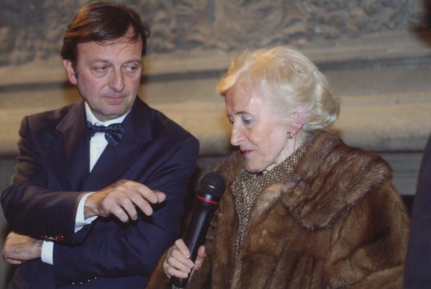 F.Petrucci e Mina Gregori, inaug. mostra La Schola del Caravaggio, 12.10.2006