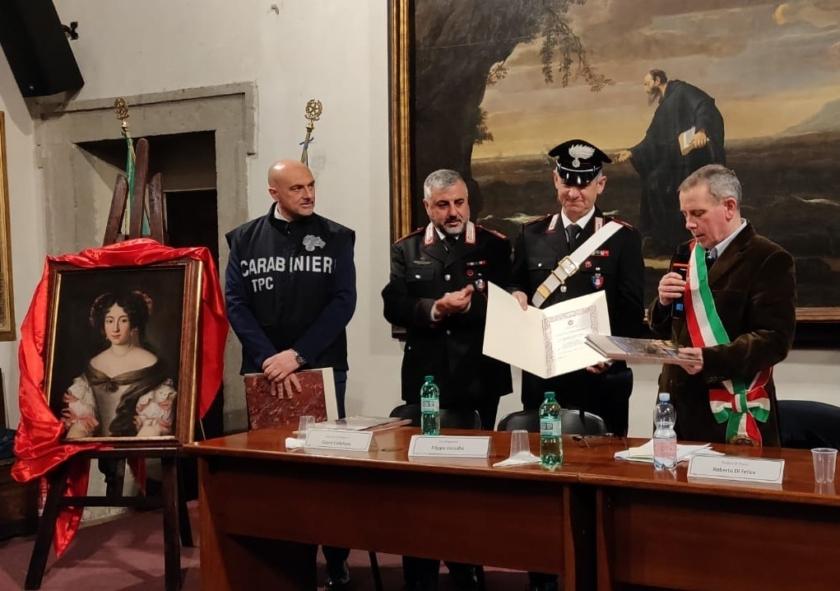 Roberto Di Felice, F.Petrucci, Carabinieri Nucleo Tutela Patrimonio Culturale, riconsegna ritratto di Voet, 10.4.2019