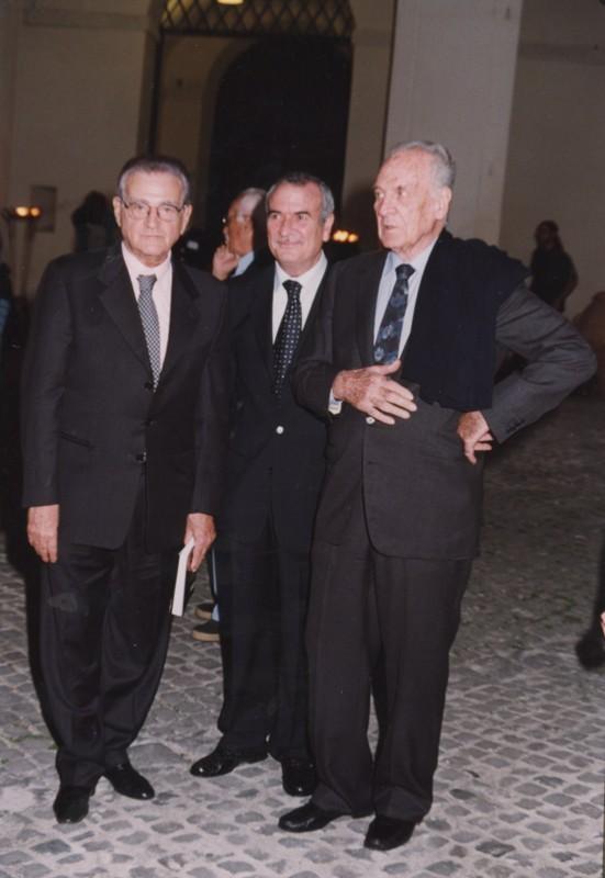 Teddy Reno, Frappelli e Massimo Girotti, Inaugurazione mostra Gattopardo, 12.10.2001