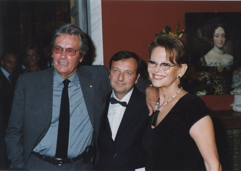 Delon, F.Petrucci, Claudia Cardinale, inaugurazione mostra Gattopardo, 12.10.2001