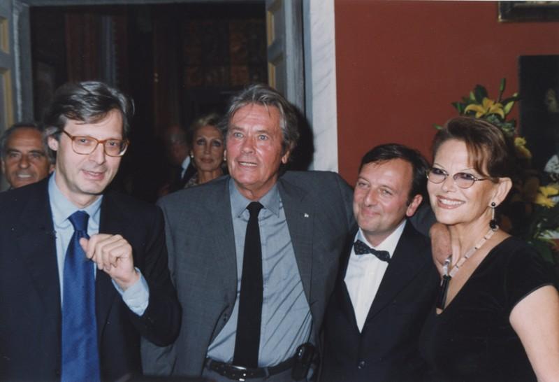 Sgarbi, Delon, F.Petrucci, Claudia Cardinale, inaugurazione mostra Gattopardo, 12.10.2001