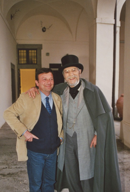 F.Petrucci e Nino Manfredi, per le riprese di La Notte di Pasquino, marzo-aprile 2002